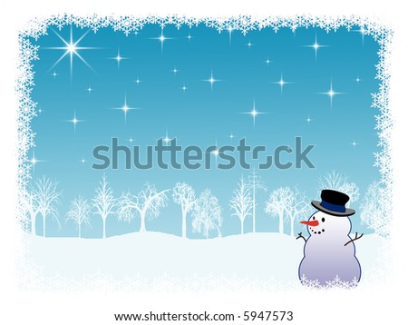 Winter holiday background with snowman, framed with snowflakes