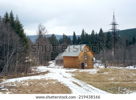 Winter holiday house in Ukraine - stock photo