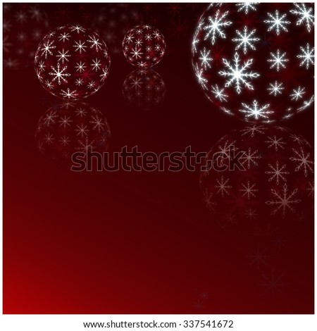 Winter Holiday red Background. Christmas Abstract Defocused Backdrop with Snowflakes. Christmas decorations - stock photo