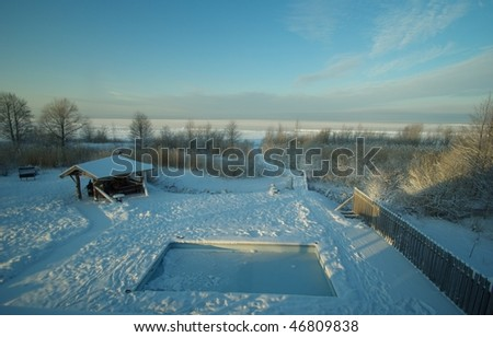 Winter holiday view - stock photo