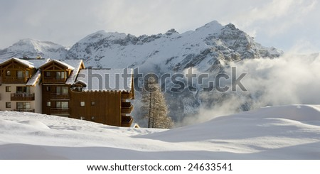 Winter holidays in France - stock photo