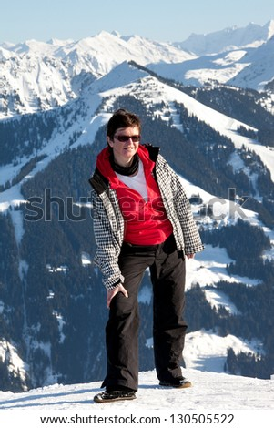 Winter holidays in the mountains - stock photo