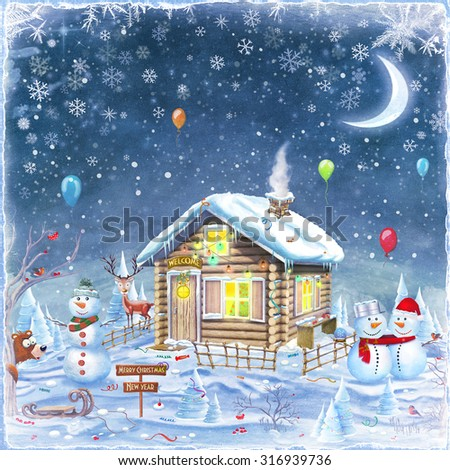 Winter holidays landscape with Snowman  ,house and forest. Merry Christmas and Happy new year background   - stock photo