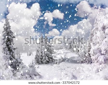Winter holidays postcard stylization. Beautiful winter landscape in the mountains - stock photo