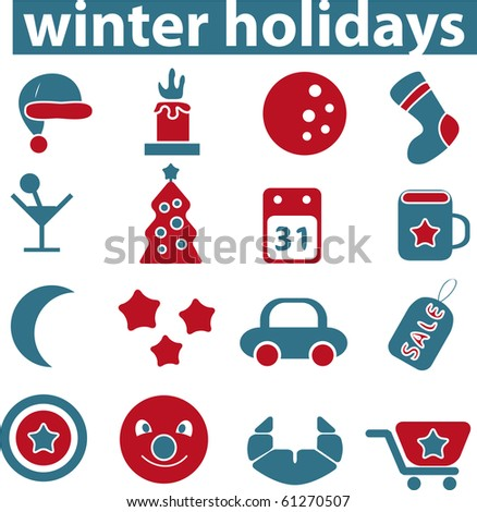 winter holidays sings. raster version - stock photo