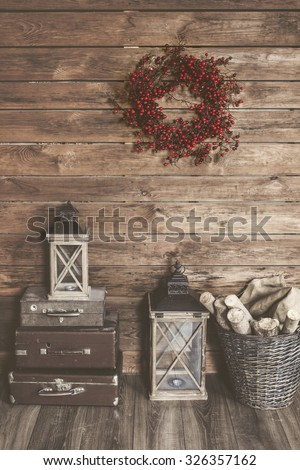 Winter home decor. Christmas rustic interior. Farmhouse decoration style. - stock photo