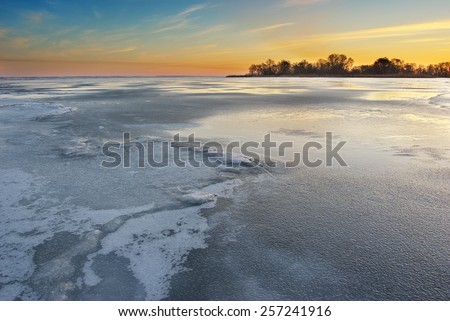 Winter ice. Melting ice on the river. Nature composition - stock photo
