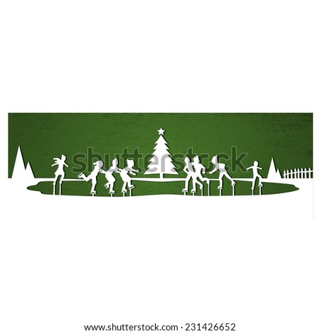 Winter Ice Skating, cut out illustration - stock photo