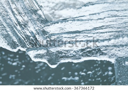 Winter ice structure, icy surface. Icing concept. macro view, soft focus - stock photo