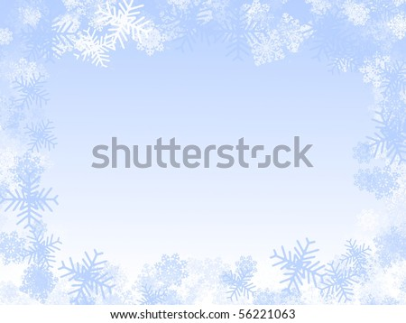 Winter illustration: snowflakes frame, frozen window - stock photo