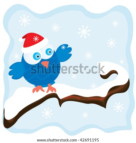 Winter image with cartoon blue bird wearing a red christmas hat and snowfall background - stock photo