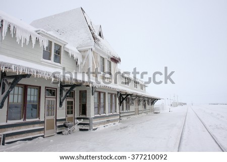 Winter in Churchill, Manitoba, Canada, at the railroad station.
