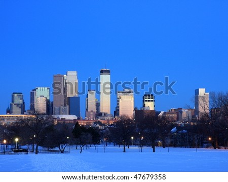 Winter in downtown Minneapolis at dusk - stock photo