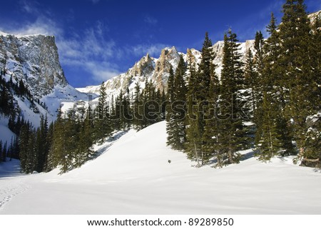 Winter  in Rocky mountains national park, colorado - stock photo