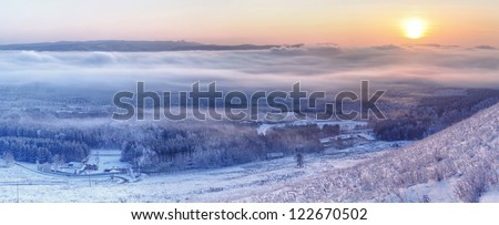 winter in siberia, panaroma of winter, winter in russia, cold winter, siberian winter, winter of russia, - stock photo