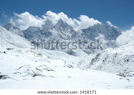 Winter in the Himalaya - stock photo