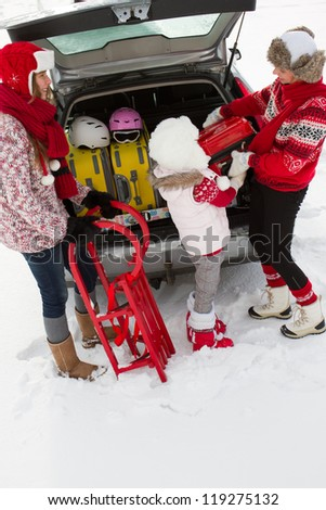 Winter, journey - family with baggage ready for the travel for winter holiday - stock photo