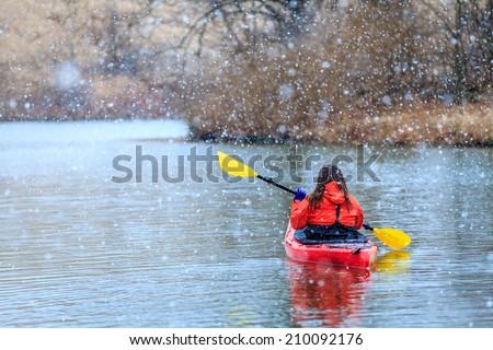 Winter kayaking - stock photo