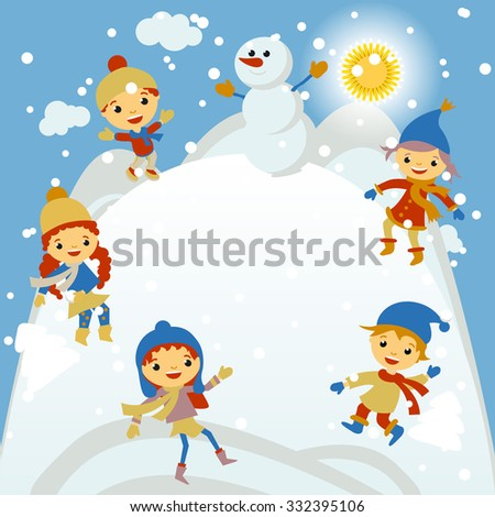 Winter Kids merry christmas and happy new year art - stock photo