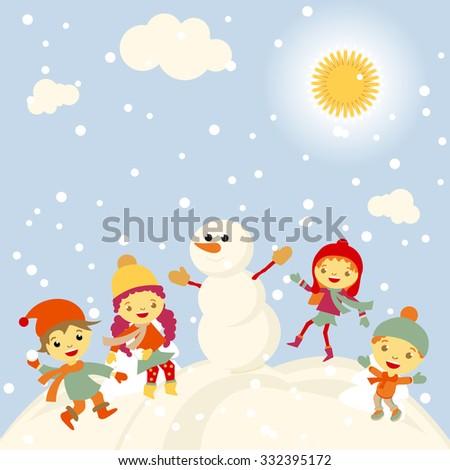 Winter Kids merry christmas and happy new year art - stock photo