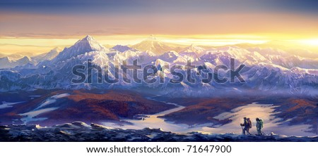 Winter landscape and skiers. Ski hiking.