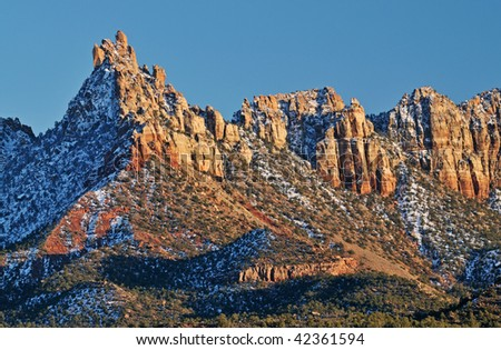 Winter landscape at sunset of Eagle Crags near Zion National Park, Utah, USA - stock photo