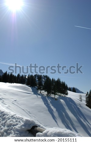 Winter landscape at the Rossfeld-Panorama-Road near Berchtesgaden
