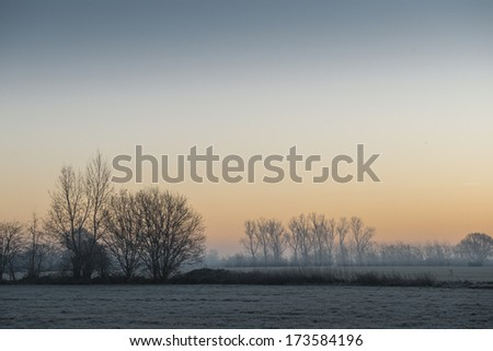 Winter landscape (Belgium, Flanders) - stock photo