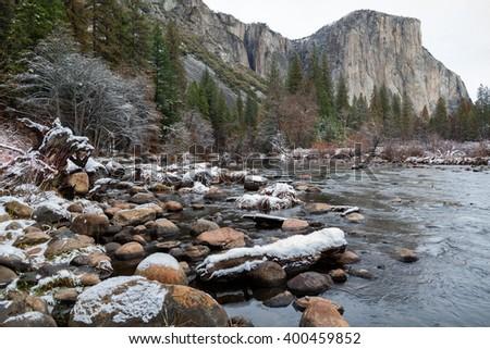 Winter landscape El Capitan/Yosemite Valley/Yosemite Valley National Park, California, USA - stock photo