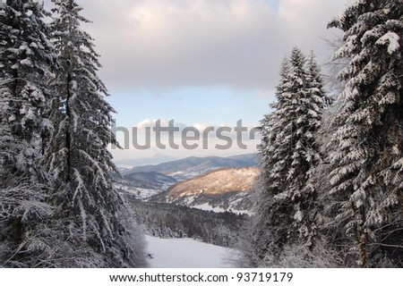 Winter landscape from the Carpathian mountains in Romania, the Prahova Valley. - stock photo