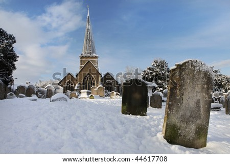 Winter landscape - Godalming, England 2 - stock photo