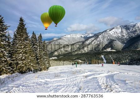 winter landscape, hot air balloons, resort Jasna, Tatras, Slovakia. - stock photo