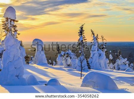 Winter landscape in Lapland Finland - stock photo