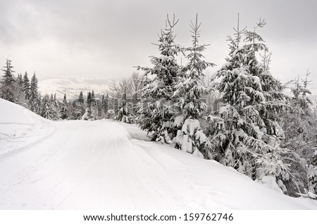 Winter landscape in mountains Carpathians - stock photo