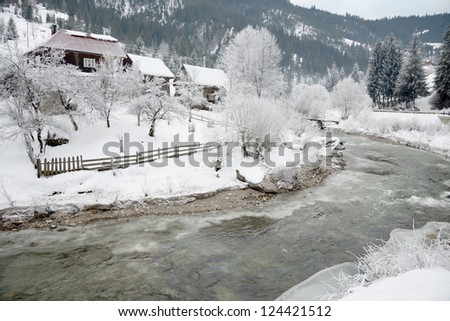 Winter landscape in the Carpathians, Romania, Europe