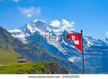 Winter landscape in the Jungfrau region - stock photo