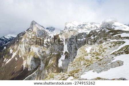 Winter landscape in the mountain - stock photo