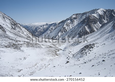 Winter landscape in the mountains. - stock photo