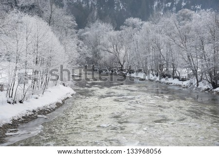 Winter landscape in the Ocidental Carpathians, Romania, Europe