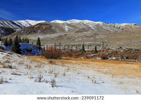 Winter landscape in the Utah mountains, USA. - stock photo