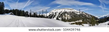winter landscape Kleinwalsertal - stock photo