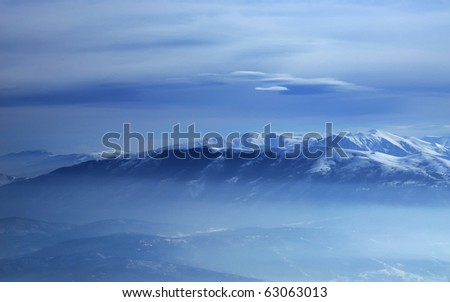 Winter landscape mountain - stock photo