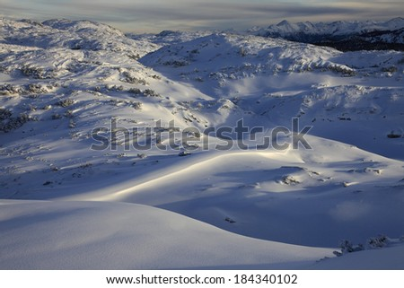 Winter landscape of a mountain plateau Dachstein-Krippenstein. Austria. - stock photo