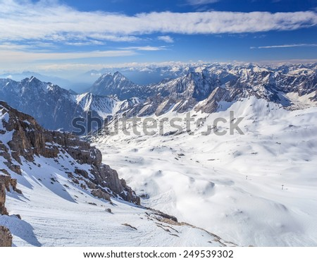 winter landscape of Alpine Alps mountain view from Zugspitze top of Germany - stock photo