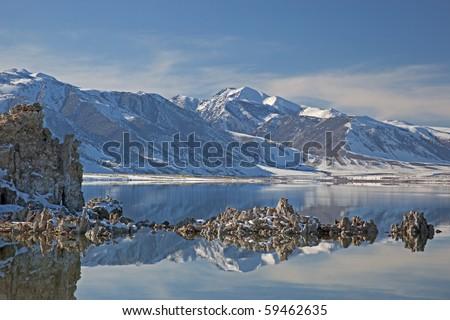 Winter landscape of Mono Lake with tufa and Eastern Sierra Nevada Mountains, California, USA - stock photo