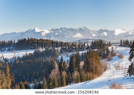 Winter landscape of Tatra Mountains. View from the summit of Kotelnica. - stock photo