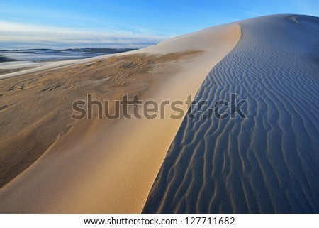 Winter landscape of the Silver Lake Sand Dunes, Silver Lake State Park, Michigan, USA - stock photo