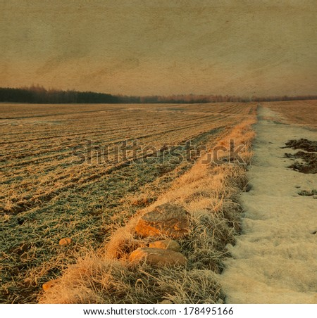 winter landscape. oil painting look - stock photo