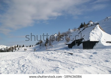 Winter landscape on a hill-top