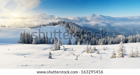 Winter landscape on a sunny morning in the mountains. The cabins of shepherds on the hill. Carpathians, Ukraine, Europe. View of the ridge of the mountain Chornohora from Kukul